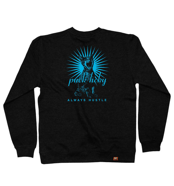PUCK HCKY 'BE QUIET AND SKATE' crewneck hockey sweatshirt in black back view
