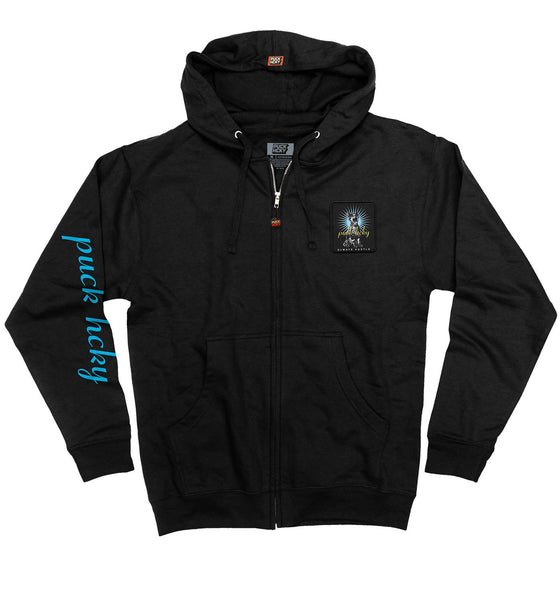PUCK HCKY 'BE QUIET AND SKATE' full zip hockey hoodie in black front view