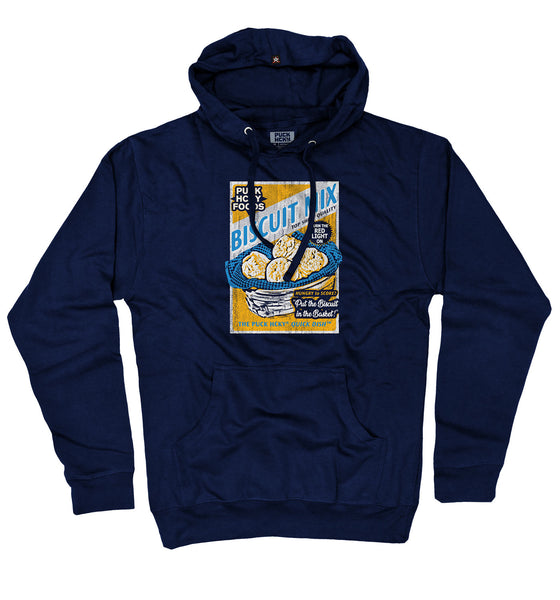 PUCK HCKY 'BISCUIT MIX' pullover hockey hoodie in royal blue