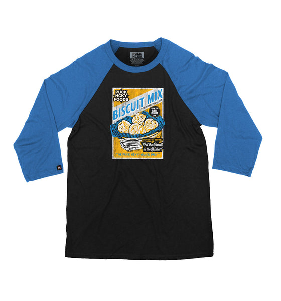 PUCK HCKY 'BISCUIT MIX' hockey raglan t-shirt in black with royal blue sleeves