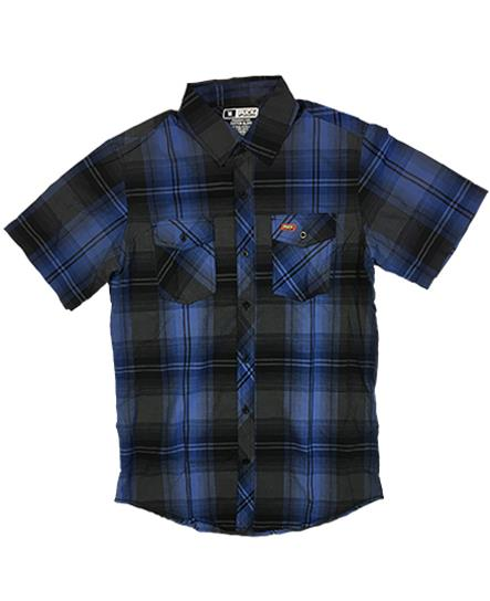 PUCK HCKY 'BLACK AND BLUE' short sleeve, plaid, button down hockey shirt in blue and black