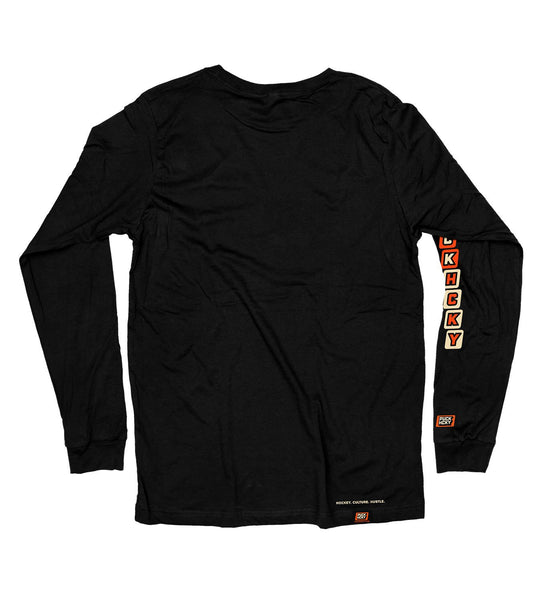 PUCK HCKY 'CAPTAIN' long sleeve hockey t-shirt in black back view
