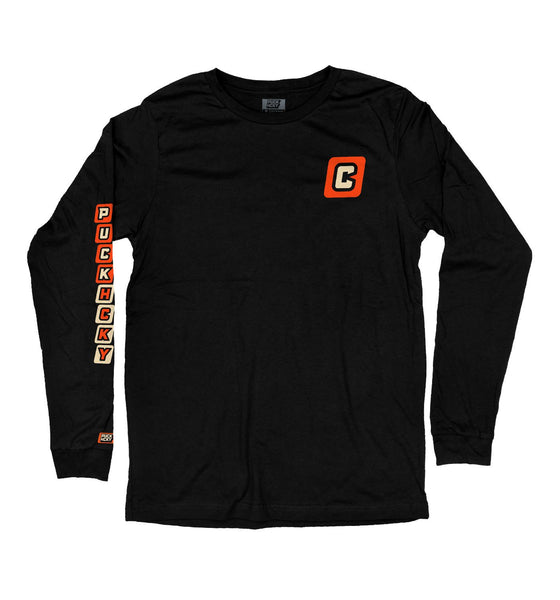 PUCK HCKY 'CAPTAIN' long sleeve hockey t-shirt in black front view