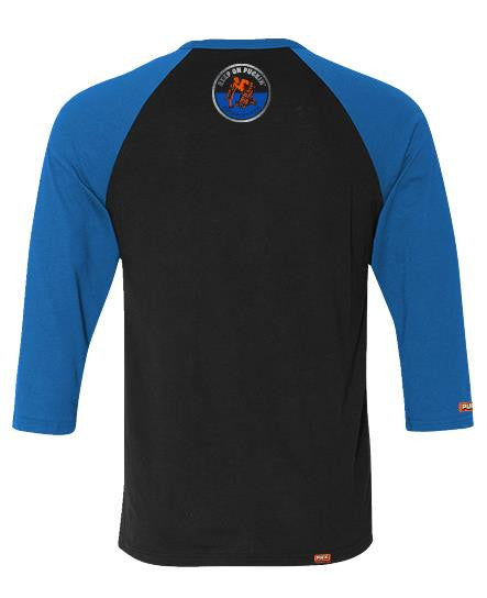PUCK HCKY 'CARD WRAPPER SERIES - 1 OF 3' hockey raglan in black and royal back view