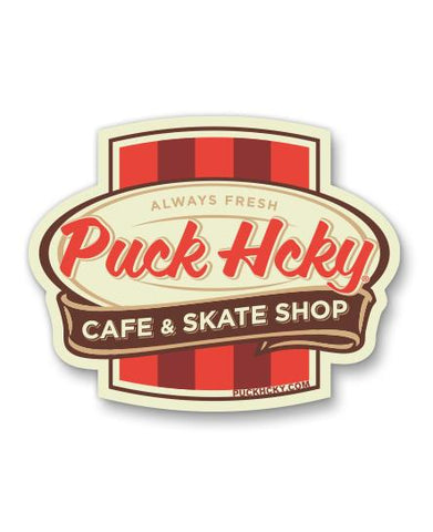 PUCK HCKY 'NY COFFEE CUP' HOCKEY STICKER