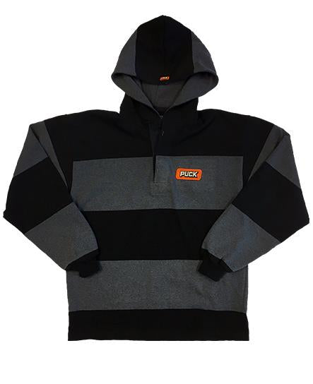 PUCK HCKY 'DUMP & CHASE' long sleeve, rugby-style hockey hoodie in black and grey