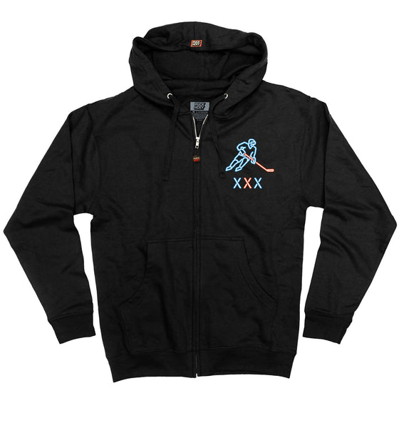 PUCK HCKY 'CLUB PUCK - FILTHY MOVES' full zip hockey hoodie in black front view