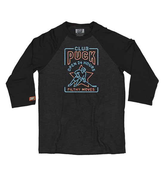 PUCK HCKY 'CLUB PUCK - FILTHY MOVES' hockey raglan t-shirt in black heather with black sleeves front view