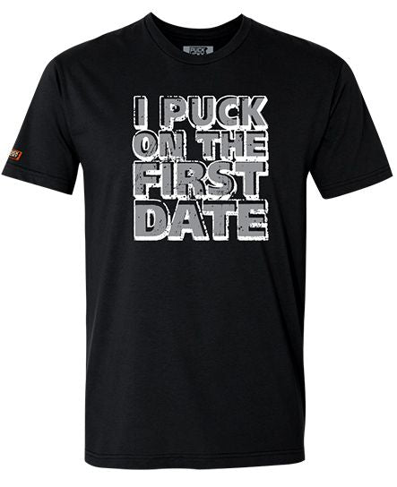 PUCK HCKY 'FIRST DATE' short sleeve hockey t-shirt in black