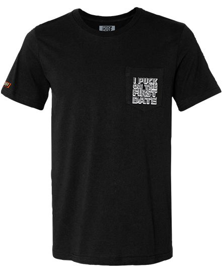 PUCK HCKY 'FIRST DATE' short sleeve hockey pocket t-shirt in black