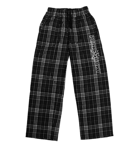 PUCK HCKY 'LOUNGE AROUND' flannel pants in black plaid