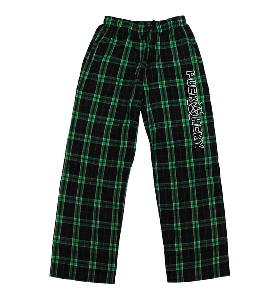 PUCK HCKY 'LOUNGE AROUND' flannel pants in green plaid