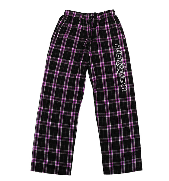 PUCK HCKY 'LOUNGE AROUND' flannel pants in pink plaid