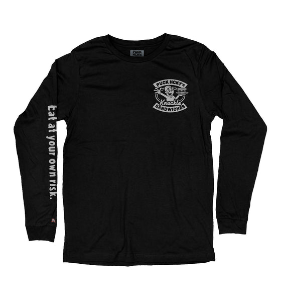 PUCK HCKY 'GLOVES OFF DELI' long sleeve hockey t-shirt in black front view