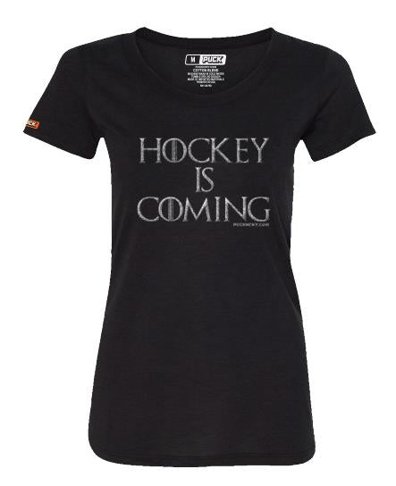 PUCK HCKY 'HOCKEY IS COMING' women's short sleeve hockey t-shirt in black