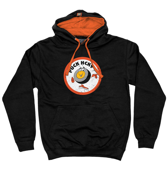 PUCK HCKY 'HOCKEY NIGHT TRIBUTE' pullover colorblock hockey hoodie in black and orange