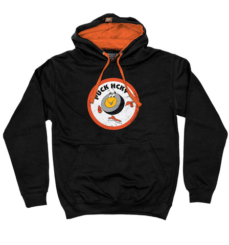 PUCK HCKY 'SHOOT PUCKS NOT PEOPLE - CAMO BADGE' ZIP HOCKEY HOODIE