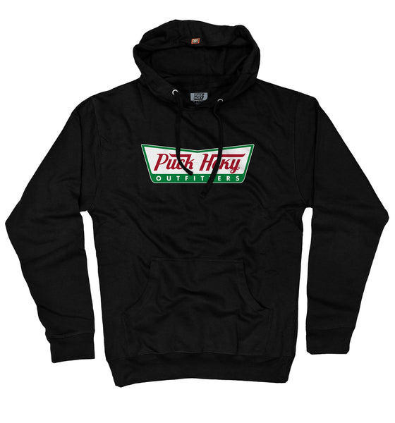 PUCK HCKY 'HOT ICING' pullover hockey hoodie in black parody of Krispy Kreme