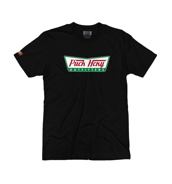 PUCK HCKY 'HOT ICING' short sleeve hockey t-shirt in black parody of Krispy Kreme