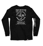 PUCK HCKY 'HOT SAUCE' long sleeve hockey t-shirt in black back view