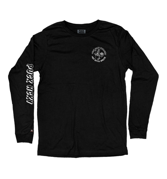 PUCK HCKY 'HOT SAUCE' long sleeve hockey t-shirt in black front view