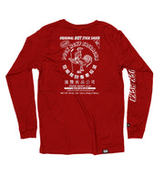 PUCK HCKY 'HOT SAUCE' long sleeve hockey t-shirt in red back view