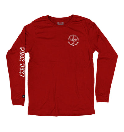 PUCK HCKY 'HOT SAUCE' long sleeve hockey t-shirt in red front view