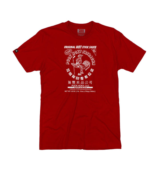 PUCK HCKY 'HOT SAUCE' short sleeve hockey t-shirt in red