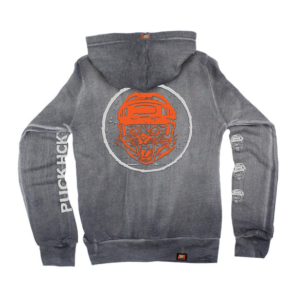 PUCK HCKY 'HUSTLE CAT' women's full zip hockey hoodie in graphite back view