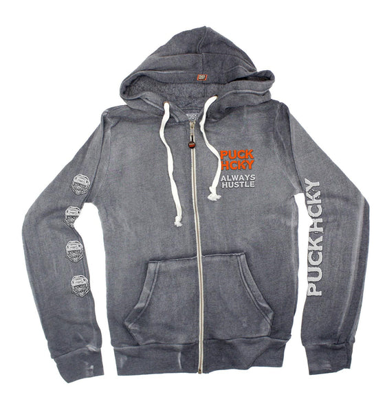 PUCK HCKY 'HUSTLE CAT' women's full zip hockey hoodie in graphite front view