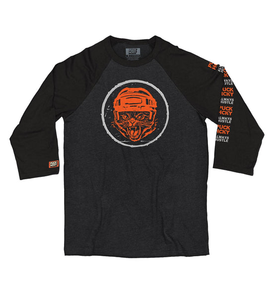 PUCK HCKY 'HUSTLE CAT' hockey raglan in black heather with black sleeves