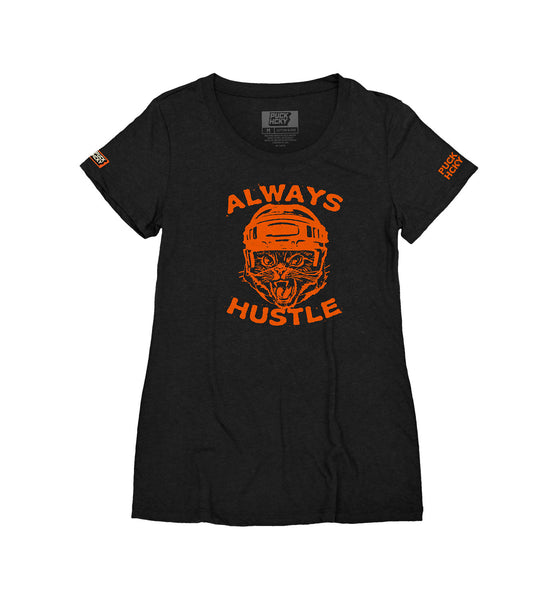 PUCK HCKY 'HUSTLE CAT' women's short sleeve hockey t-shirt in black