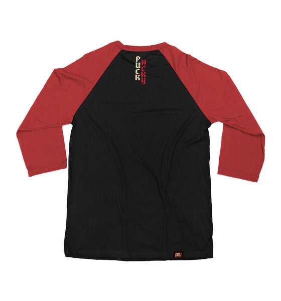 PUCK HCKY 'HUSTLER' hockey raglan in black with red sleeves back view