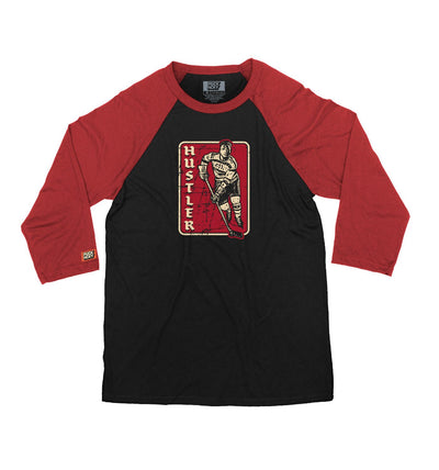 PUCK HCKY 'HUSTLER' hockey raglan in black with red sleeves front view