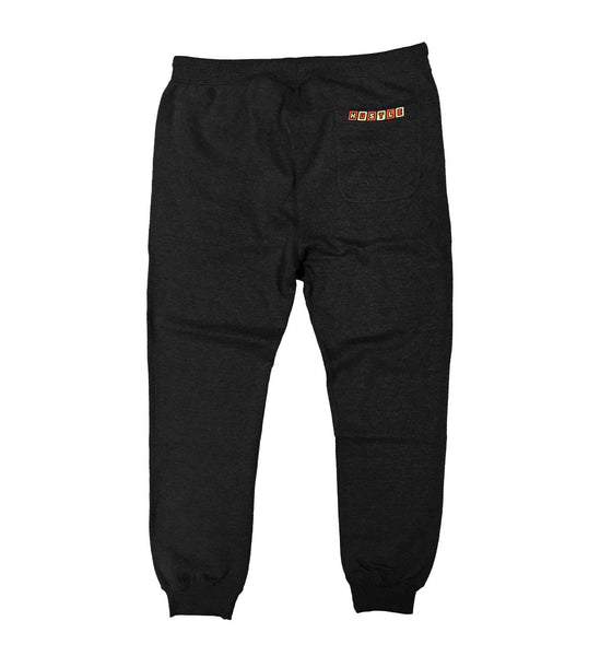 PUCK HCKY 'HUSTLE' performance jogger hockey pants in black heather back view