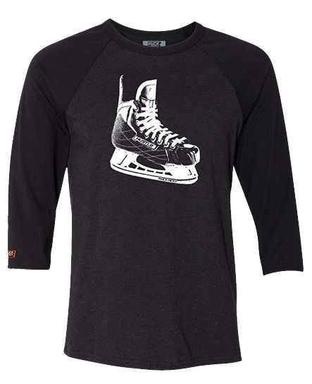 PUCK HCKY 'LACE EM UP' hockey raglan in black heather with black sleeves