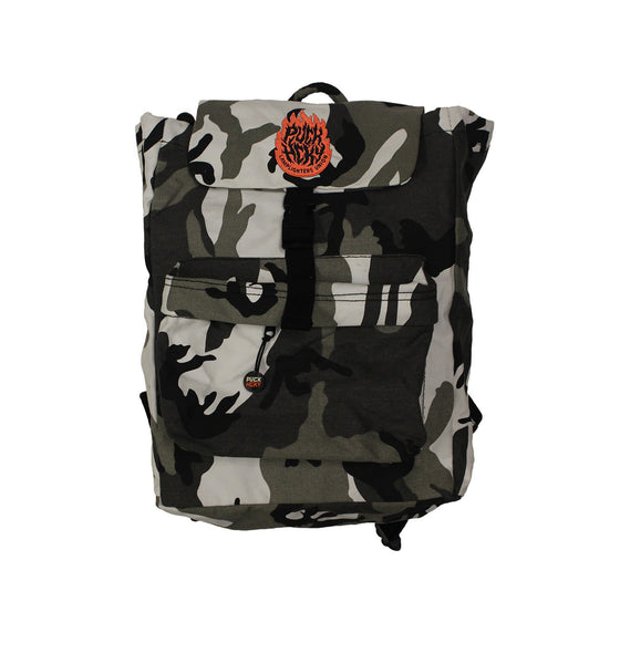 PUCK HCKY 'LAMP LIGHTERS UNION' hockey game-day travel pack in grey camo front view