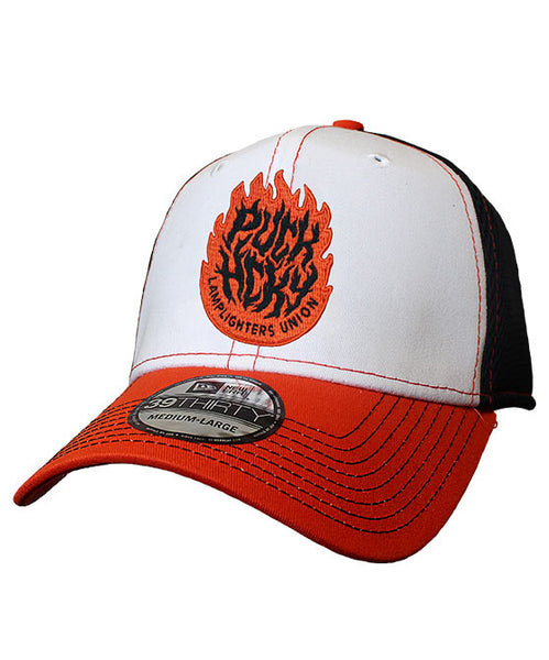 PUCK HCKY 'LAMP LIGHTERS UNION' stretch mesh hockey cap in white, orange and black with contrast stitching