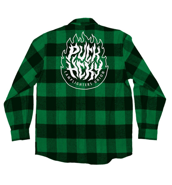 PUCK HCKY 'LAMP LIGHTERS UNION' hockey flannel in green plaid back view