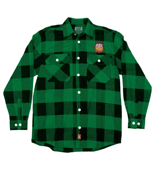 PUCK HCKY 'LAMP LIGHTERS UNION' hockey flannel in green plaid front view