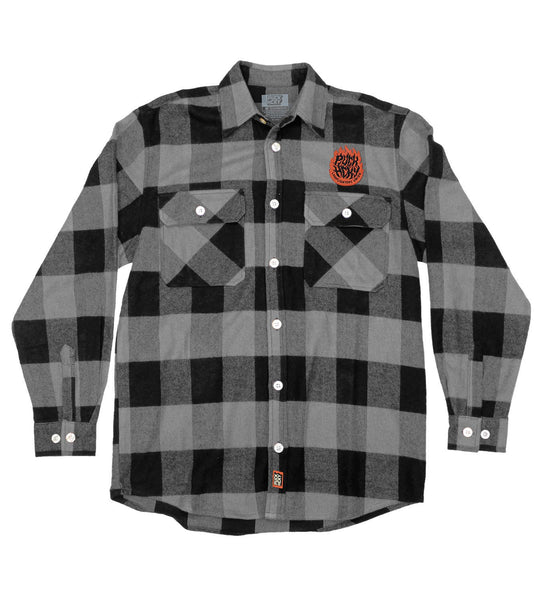 PUCK HCKY 'LAMP LIGHTERS UNION' hockey flannel in grey plaid front view