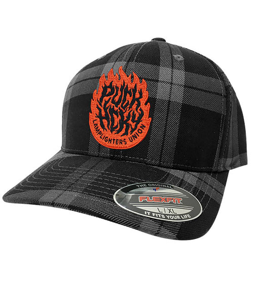 PUCK HCKY 'LAMP LIGHTERS UNION' plaid hockey cap in grey and black plaid