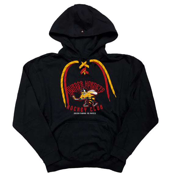 PUCK HCKY 'MURDER HORNETS'laced pullover hockey hoodie in black with gold and red laces with black stripes