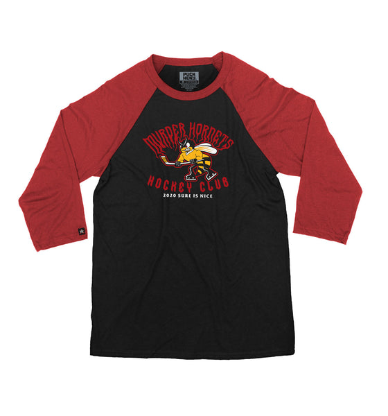 PUCK HCKY 'MURDER HORNETS' hockey raglan t-shirt in black with red sleeves
