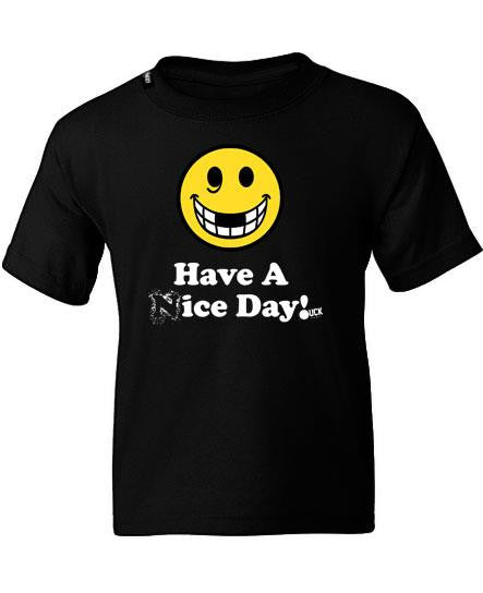PUCK HCKY 'HAVE A (N)ICE DAY' short sleeve youth hockey t-shirt in black