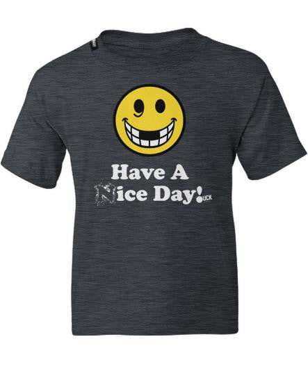PUCK HCKY 'HAVE A (N)ICE DAY' short sleeve youth hockey t-shirt in grey