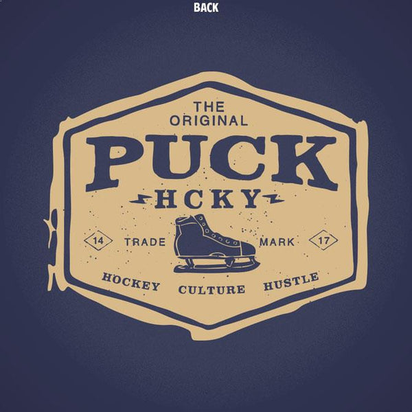 PUCK HCKY 'ORIGINAL HUSTLE' short sleeve, v-neck hockey t-shirt in navy close up of back design