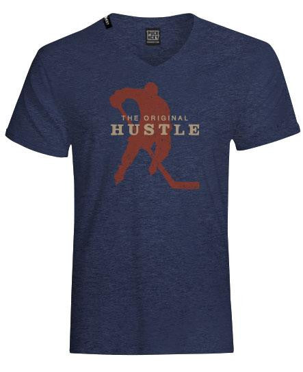 PUCK HCKY 'ORIGINAL HUSTLE' short sleeve, v-neck hockey t-shirt in navy front view