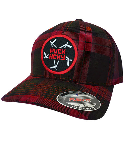 PUCK HCKY 'PENTASTICK' plaid hockey cap in red and black plaid