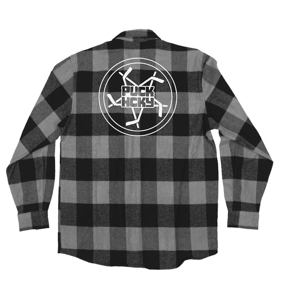 PUCK HCKY 'PENTASTICK' hockey flannel in grey plaid back view